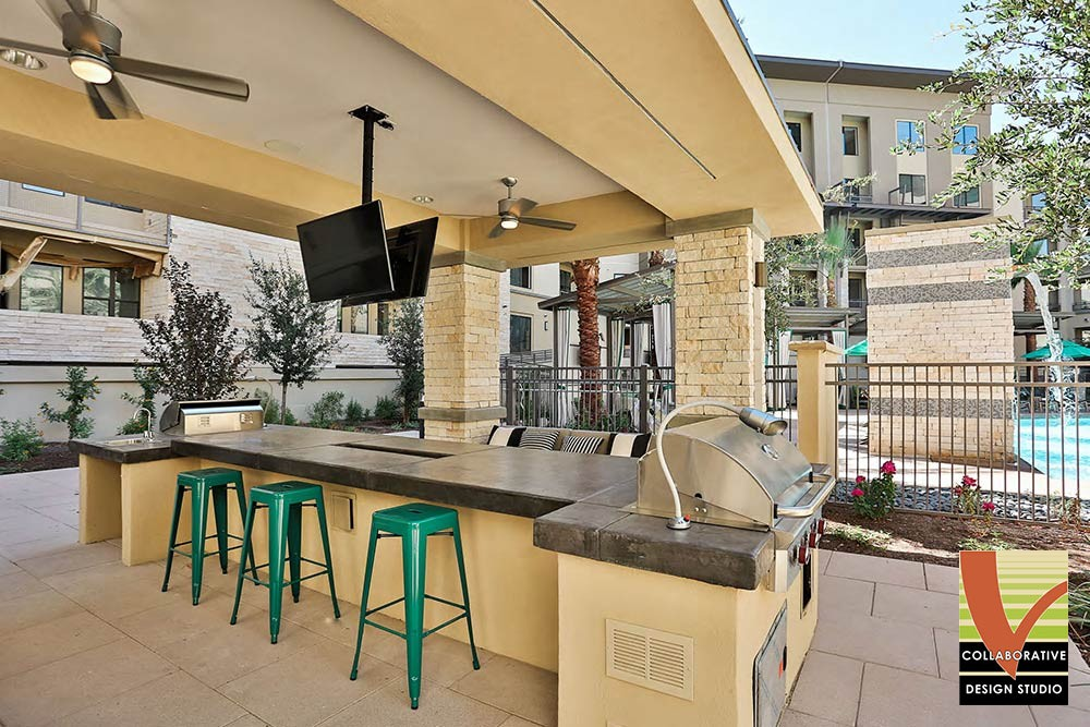 Grilling Station with Barstools and Flatscreen TVs