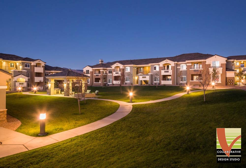 Multifamily Common Lawn Area at Night, New Mexico