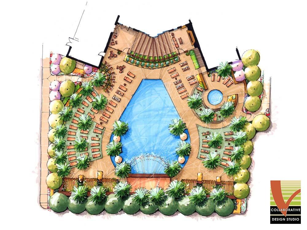 Site Plan, Pool at Vegas Towers