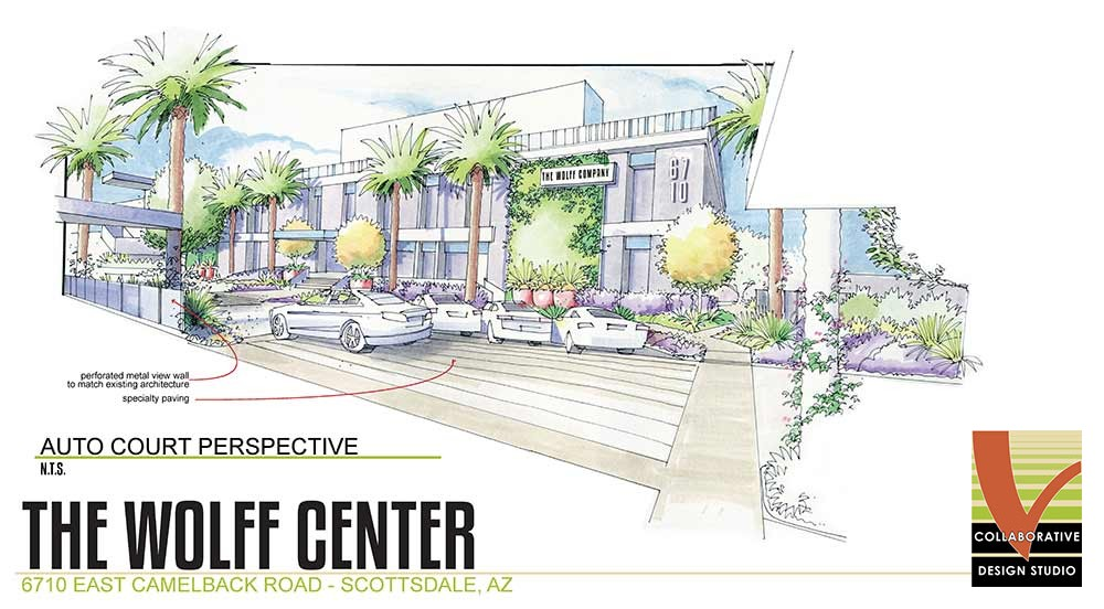 Zoom in on Concept drawing for Wolff Center